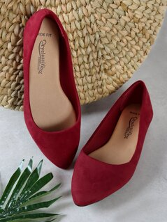 Wide Fit Faux Suede Pointed Flats
