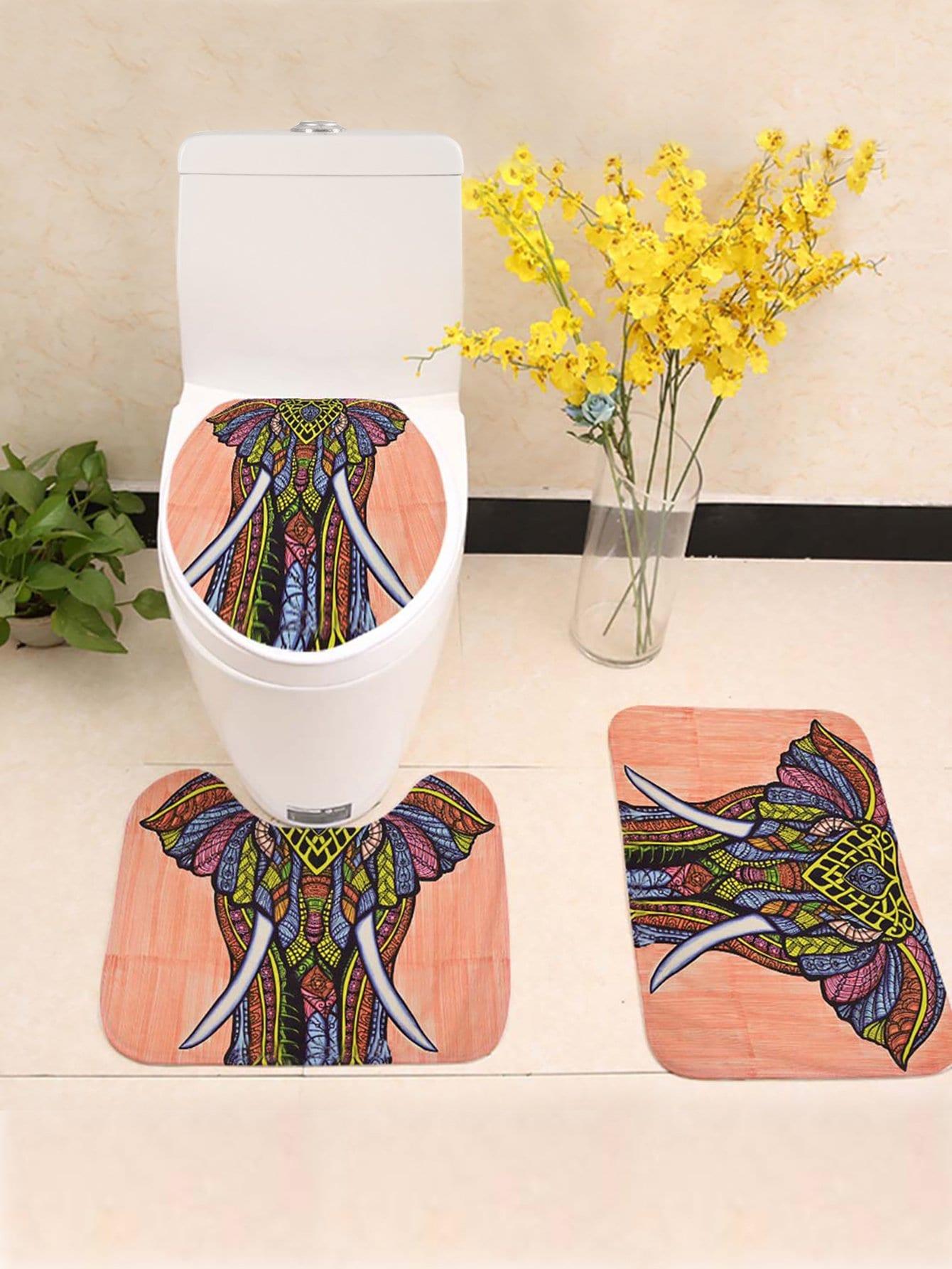 Купить Комплект ванного ковра с рисунком слона 3 шт, null, SheIn