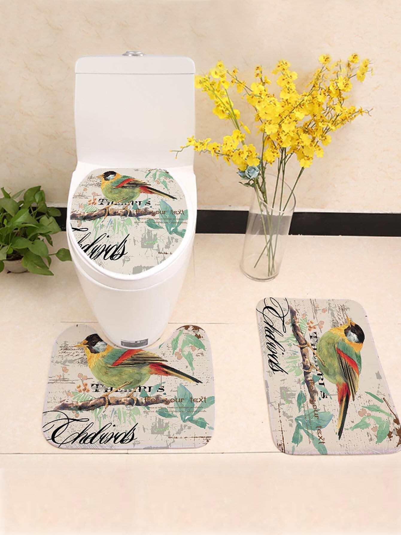 Купить Комплект ванного ковра с рисунками птиц 3 шт, null, SheIn