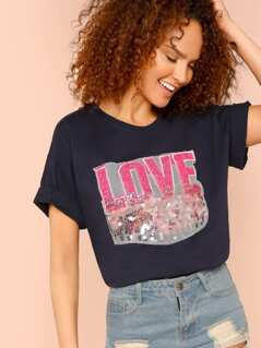 Sequin Contrast Letter Tunic Tee