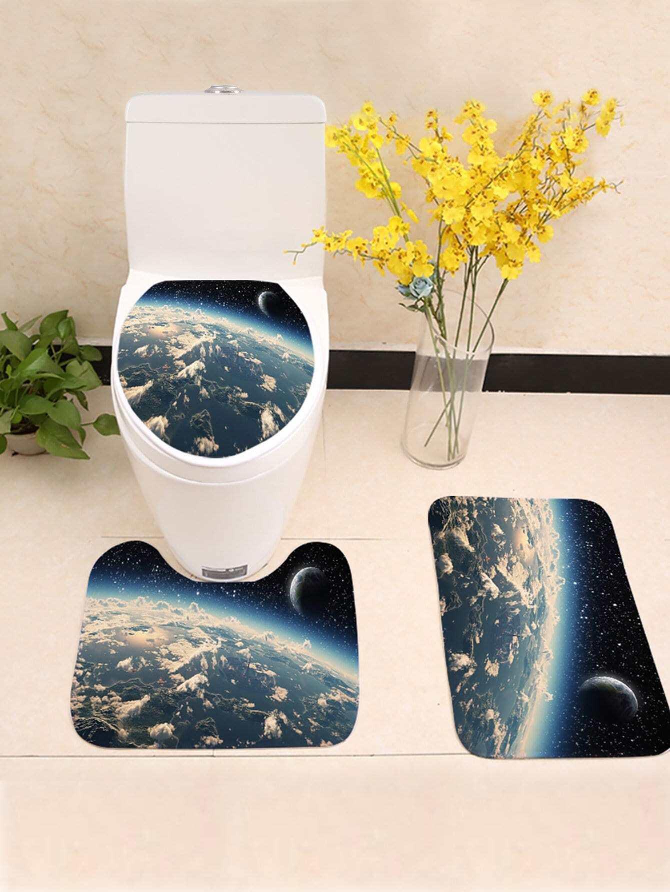 Купить Комплект ванного ковра с рисунком космоса 3 шт, null, SheIn