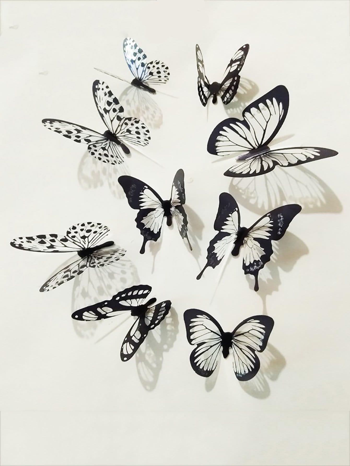3D Schmetterling Wandaufkleber 18St