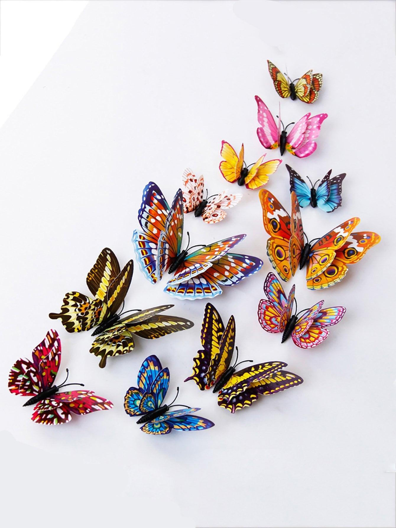 Купить Светящиеся 3D стикер стены бабочки 12pcs, null, SheIn