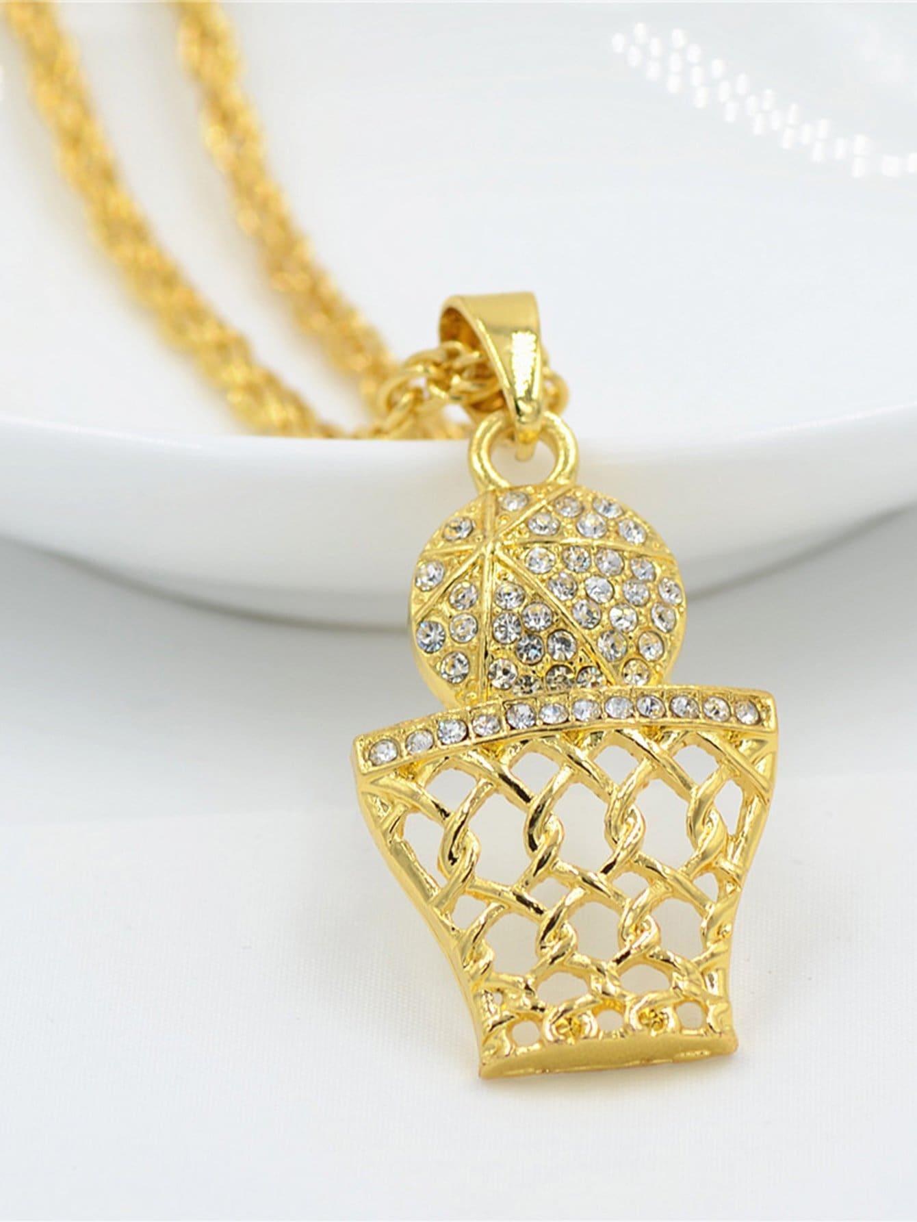 Men Rhinestone Ball Pendant Necklace