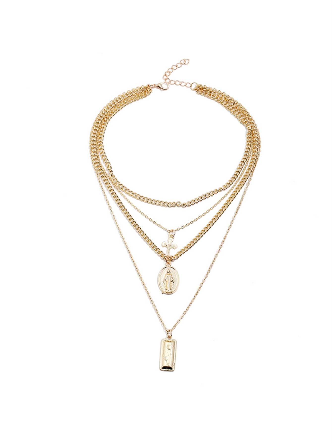 Cross & Bar Anhänger geschichteten Halskette