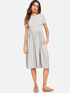 Mixed Stripe Smock Dress