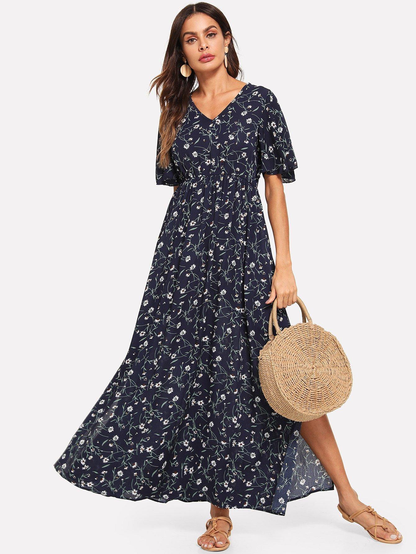 Платье с надписью Sleeve Slit Side Daisy, Andy, SheIn  - купить со скидкой