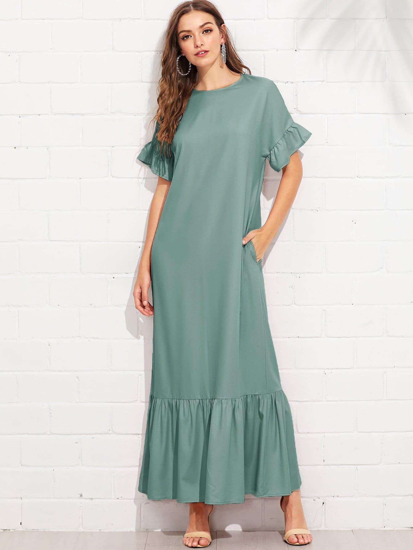 Ruffle Sleeve Tiered Hem Full Length Dress