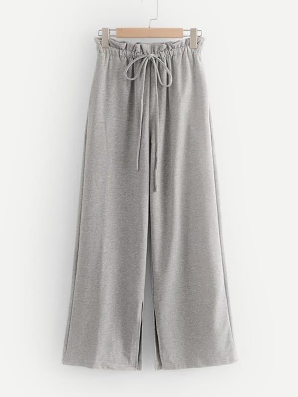 Купить Трикотажные широкие ножные штаны и с басоном эластичным, null, SheIn