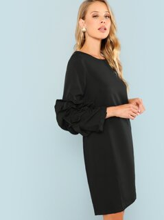 Layered Sleeve Solid Tunic Dress