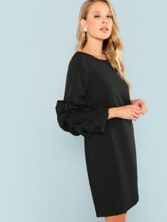 Layered Sleeve Solid Tunic Dress