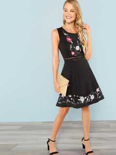 Laser Cut Insert Floral Embroidery Dress