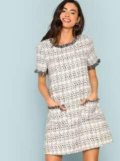 Frayed Edge Pocket Front Tweed Dress