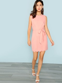 Bow Tie Waist Scallop Edge Dress