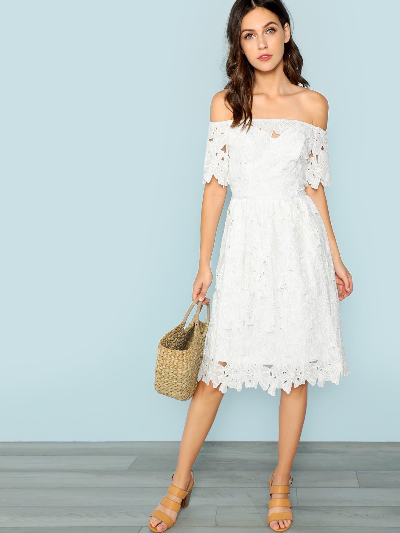 Купить Платье с кружевом на плечах, Zorana, SheIn