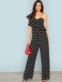 Polka Dot One Shoulder Layered Ruffle Jumpsuit