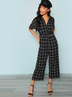 Zip Half Placket Pocket Side Grid Jumpsuit