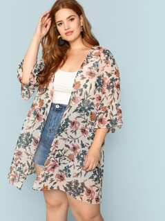 Plus Open Front Floral Longline Kimono