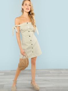 Button Front Tie Shoulder Striped Dress