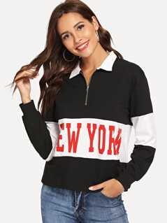 Zip Front Collar Letter Print Sweatshirt