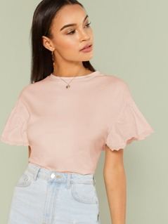 Eyelet Embroidered Ruffle Sleeve Tee