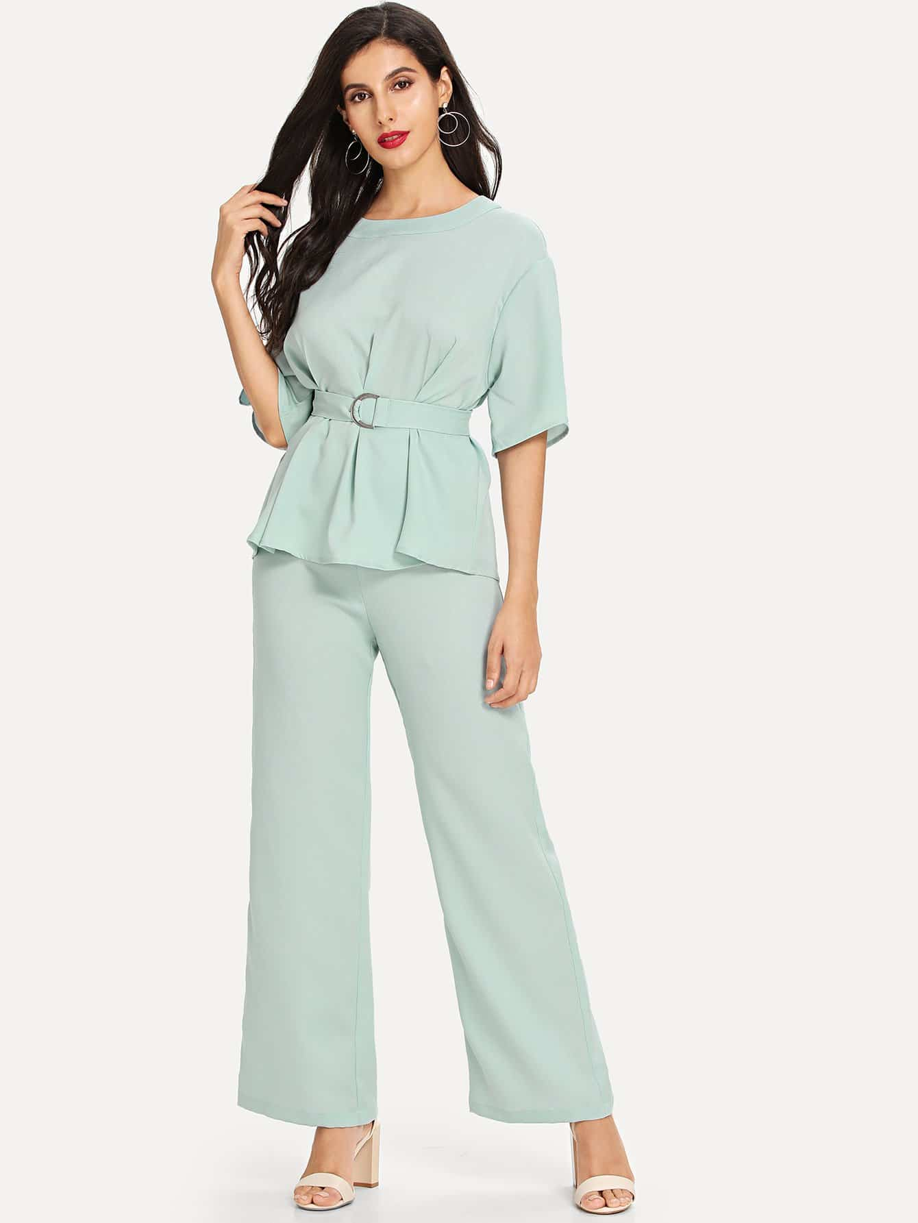 Купить Fold Pleat Belted Top & Pants Co-Ord, Jeane, SheIn