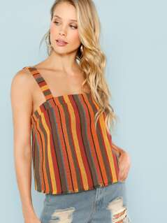 Striped Fray Hem Tank