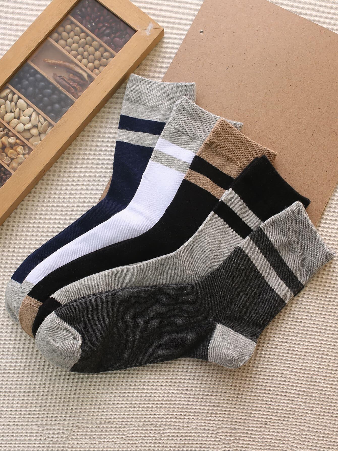 Мужчины цвет блок носки 5пары