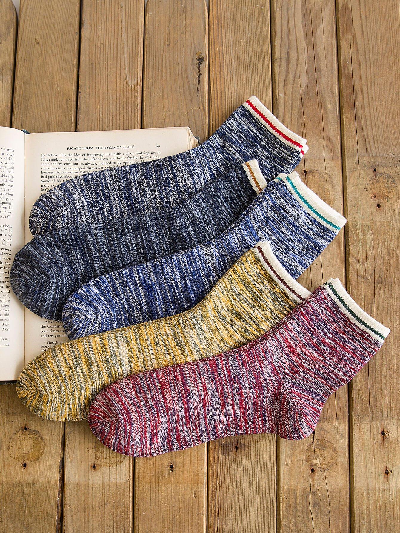 Мужчины с контрастным подолом 5пары носки