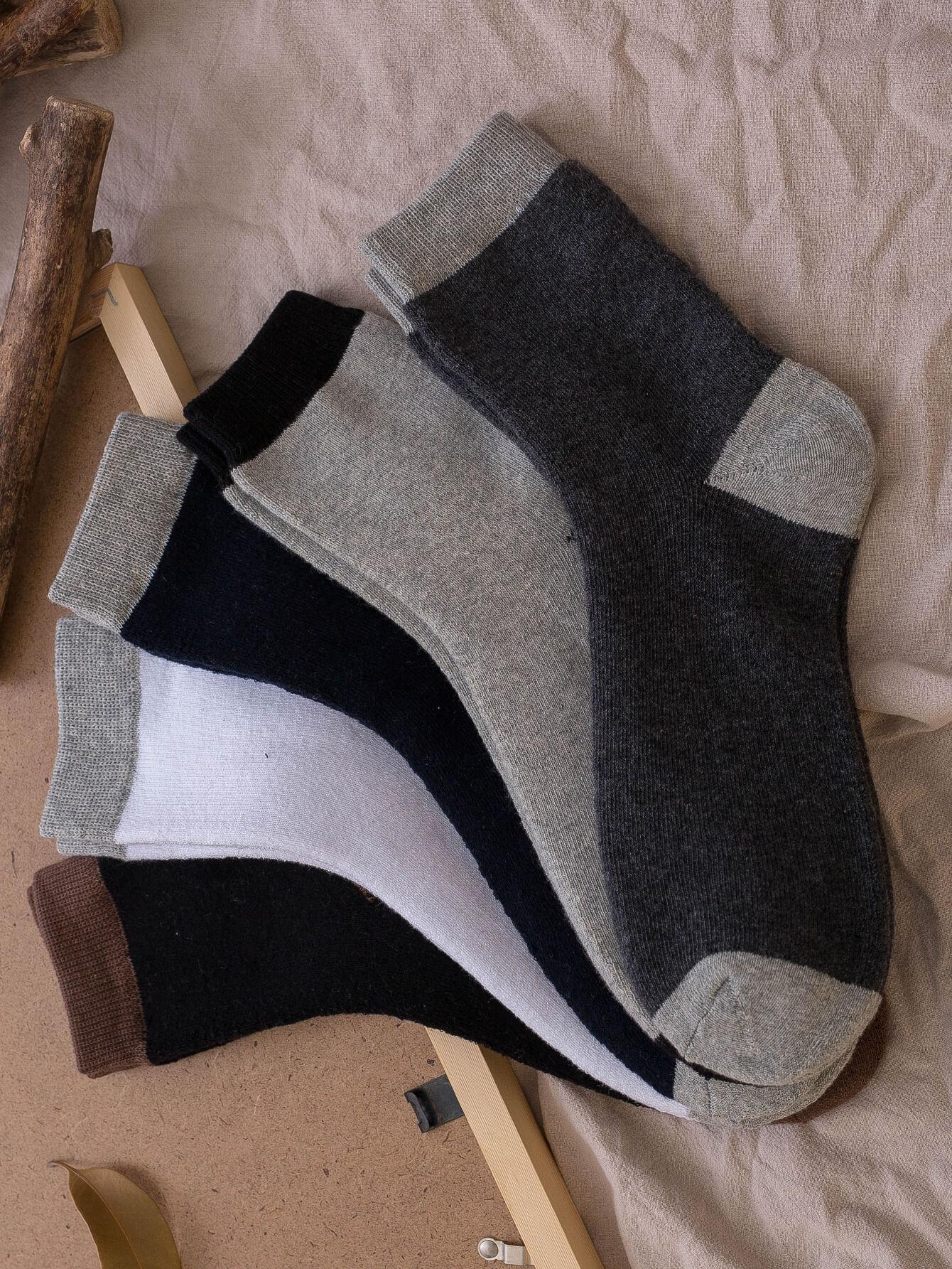 Men Contrast Hem Socks 5pairs