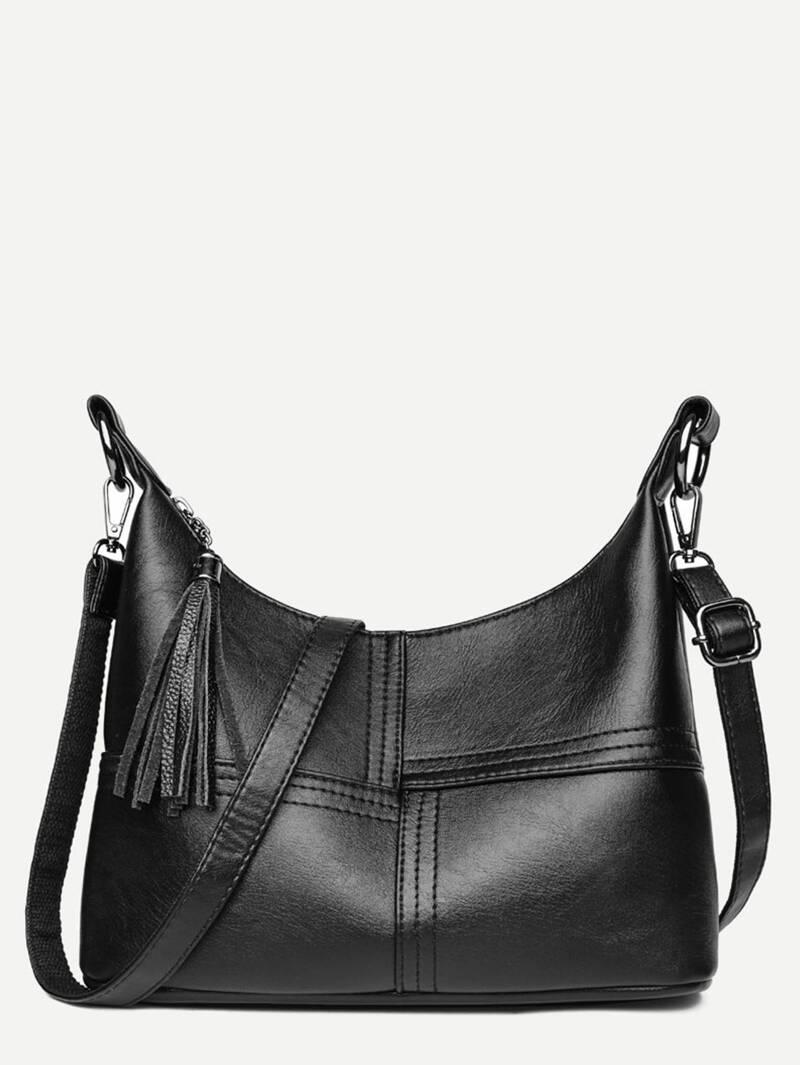 Tassel Decor PU Crossbody Bag, Black