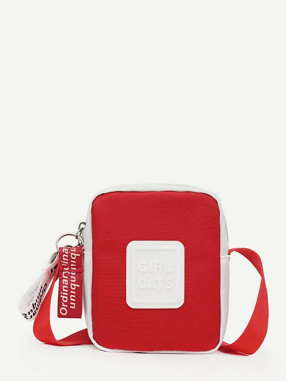 Slogan Embossed Cross Body Bag diesel frill trim cross body bag