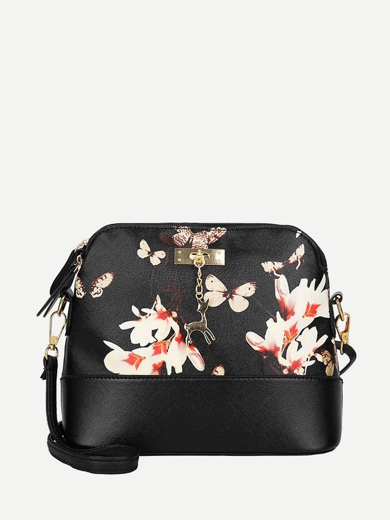 Floral Pattern Cross Body Bag diesel frill trim cross body bag