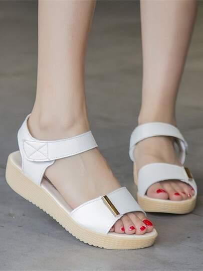 Romwe / Metal Detail Open Toe Sandals