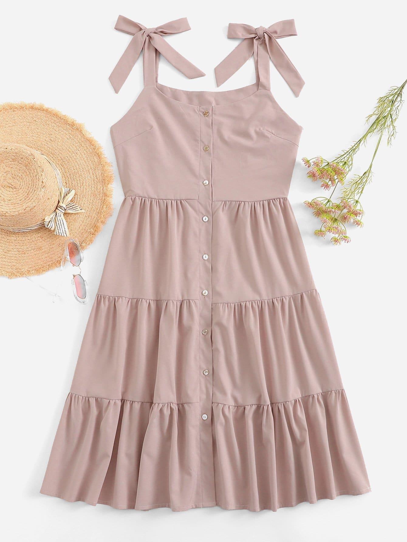 Tie Shoulder Solid Dress