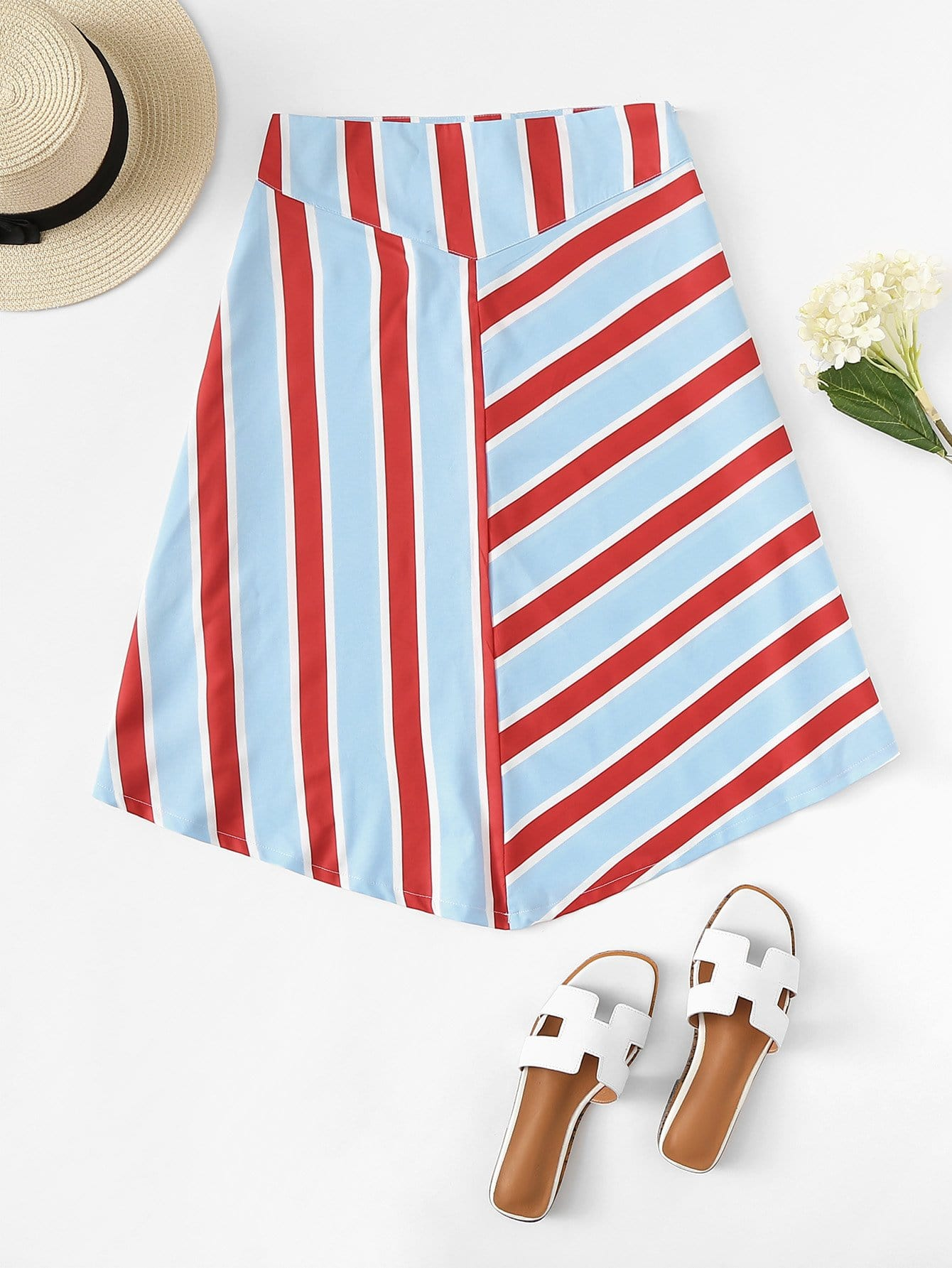 Striped Zipper Side Skirt