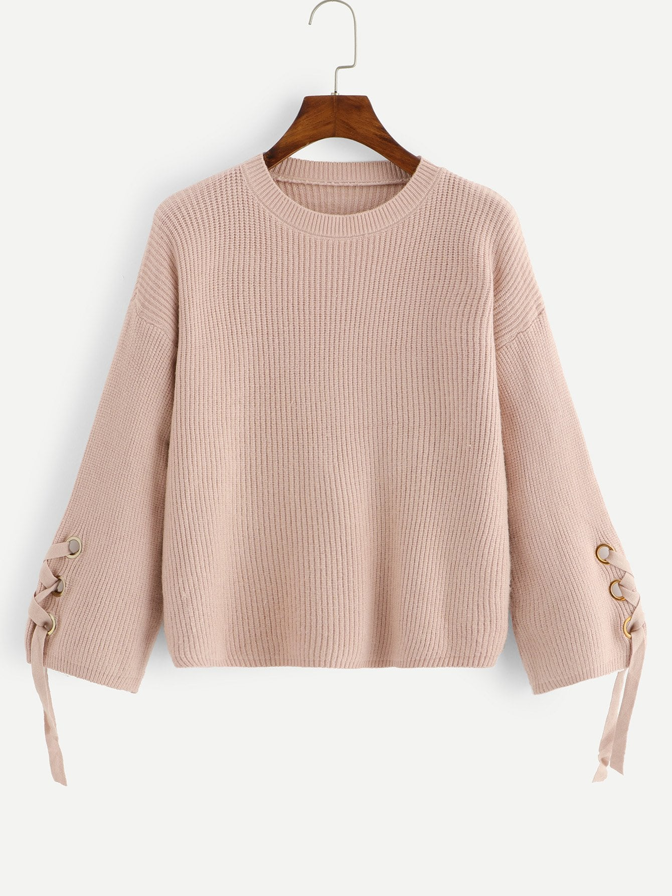 Solid Lace Up Sleeve Sweater