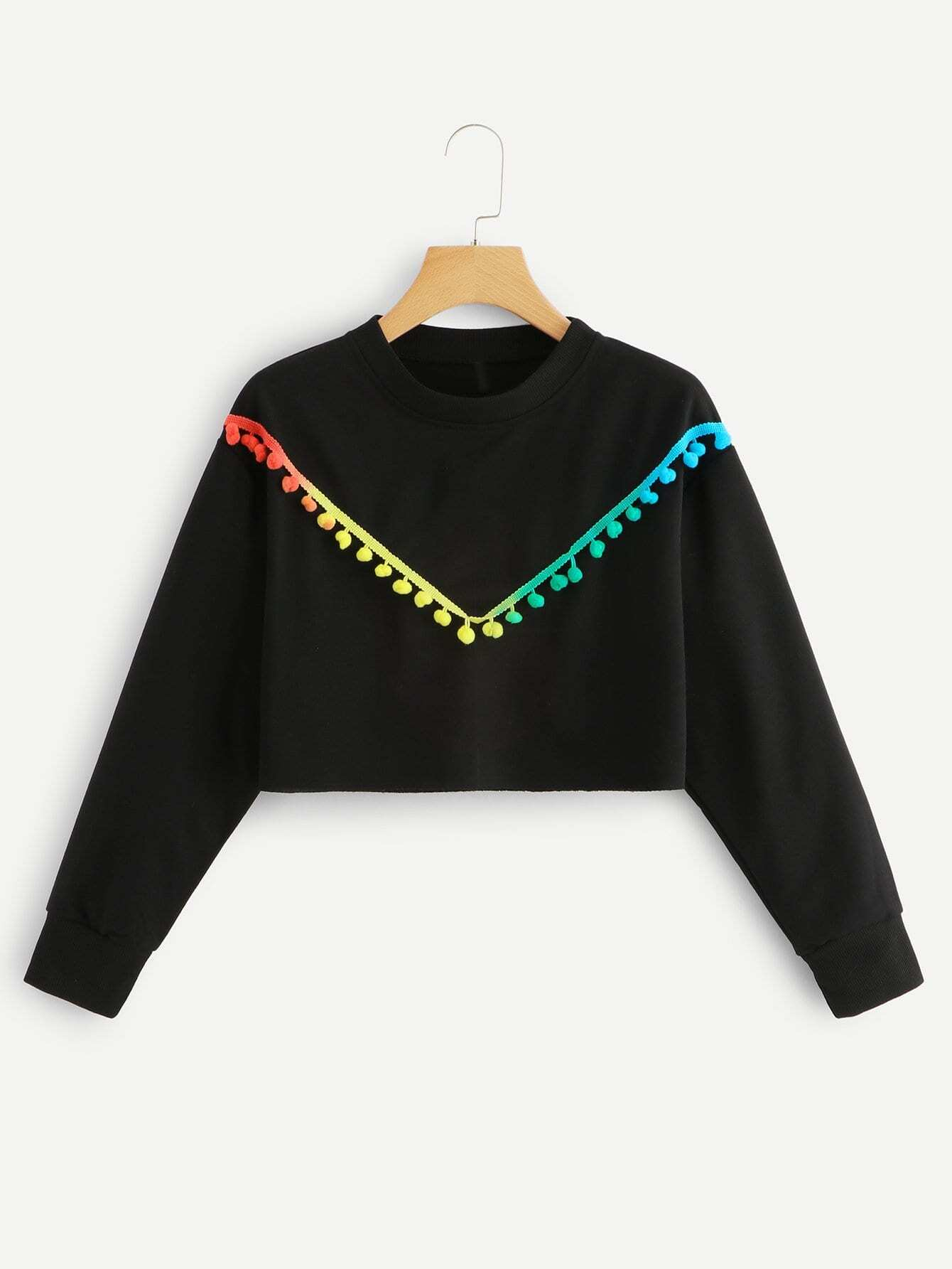 Colorful Pom Trim Crop Sweatshirt