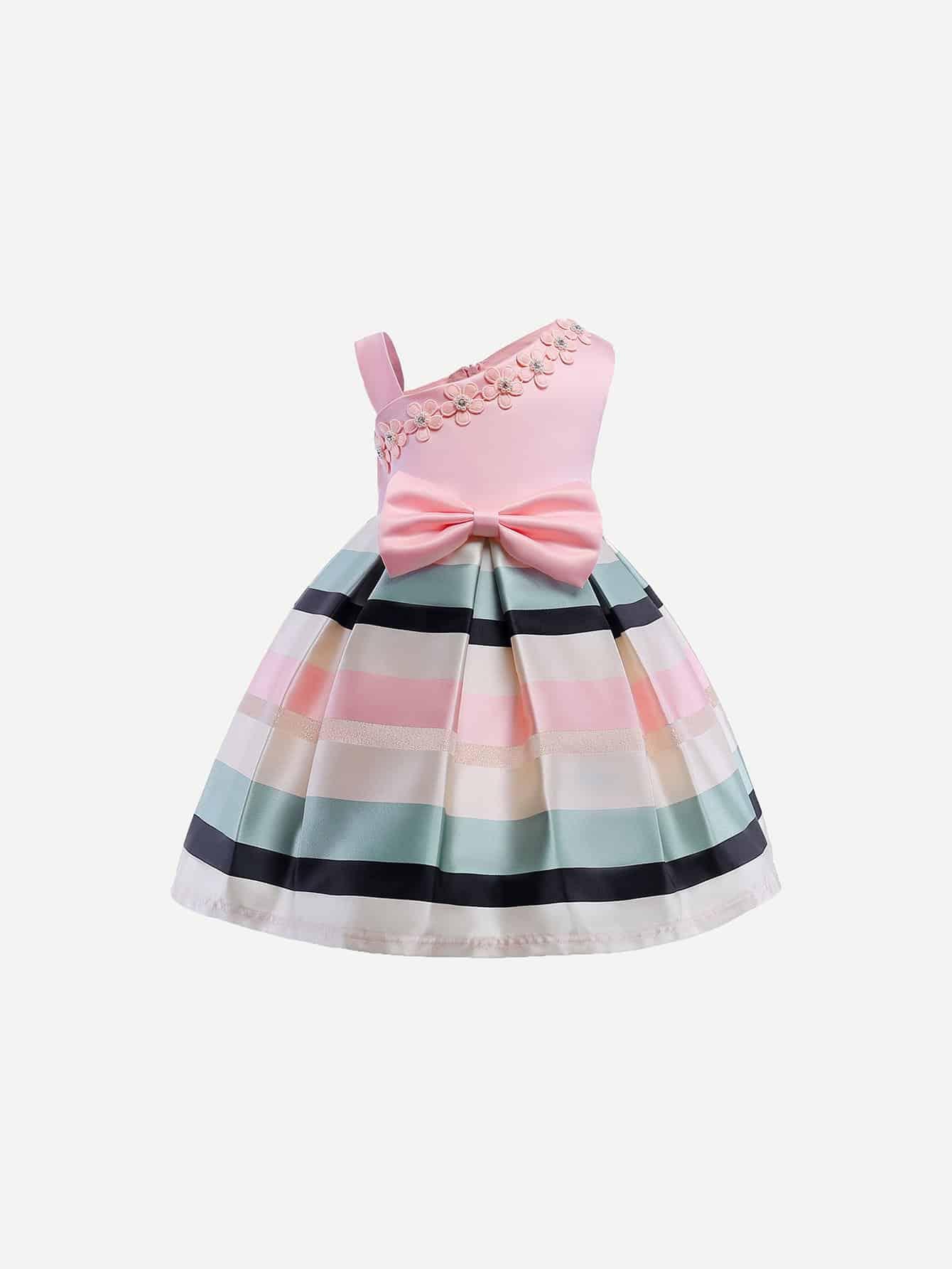 Купить Полосатое платье и с украшением жемчугов и бабочки в талие для девочки, null, SheIn