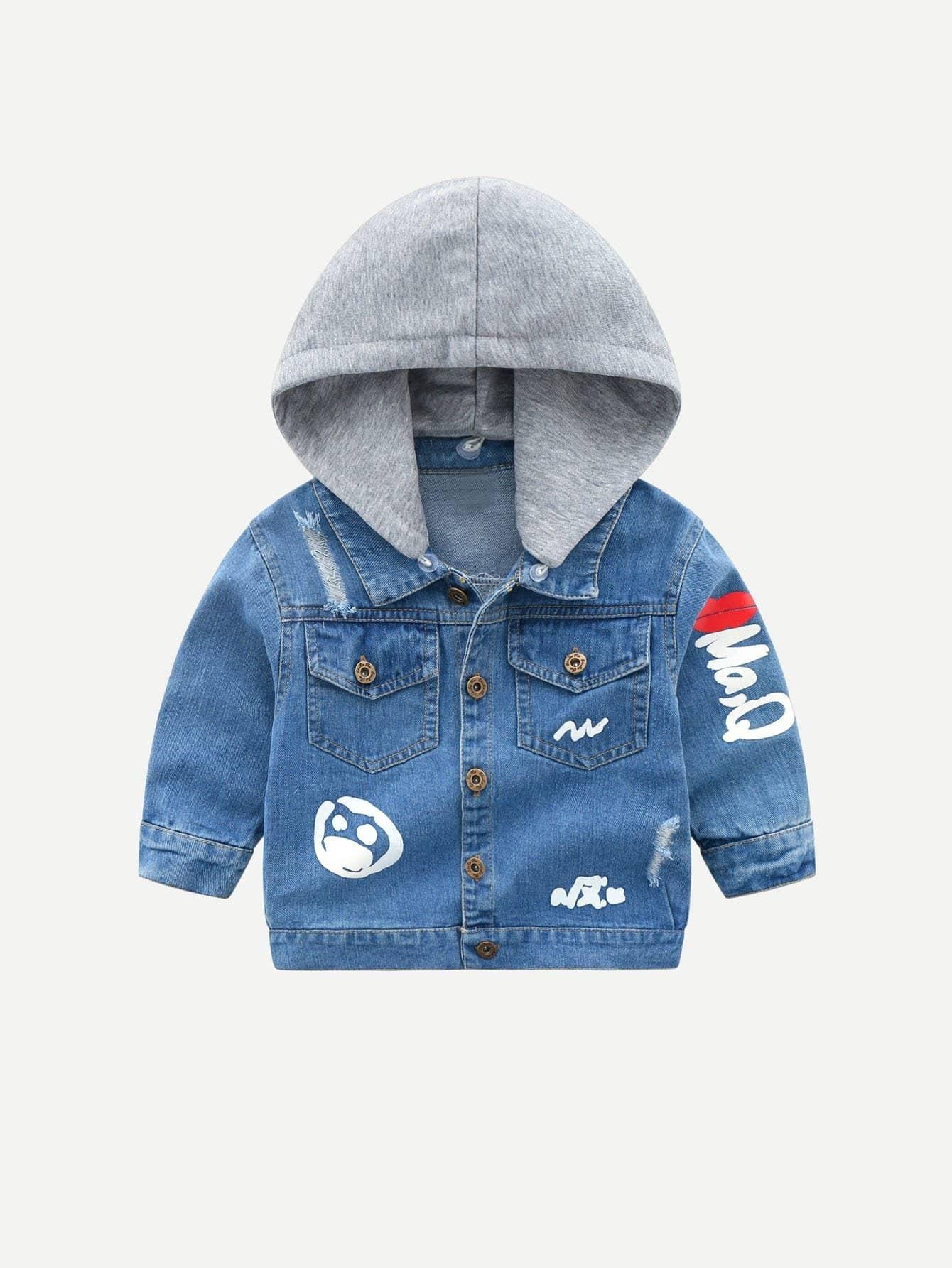 Мальчики Письмо Печать Уничтожена С Капюшоном Джинсовая Куртка