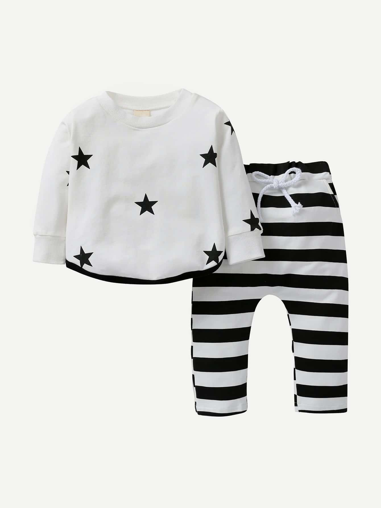 Boys Star Print Tee With Striped Drawstring Pants kids contrast striped star print pants