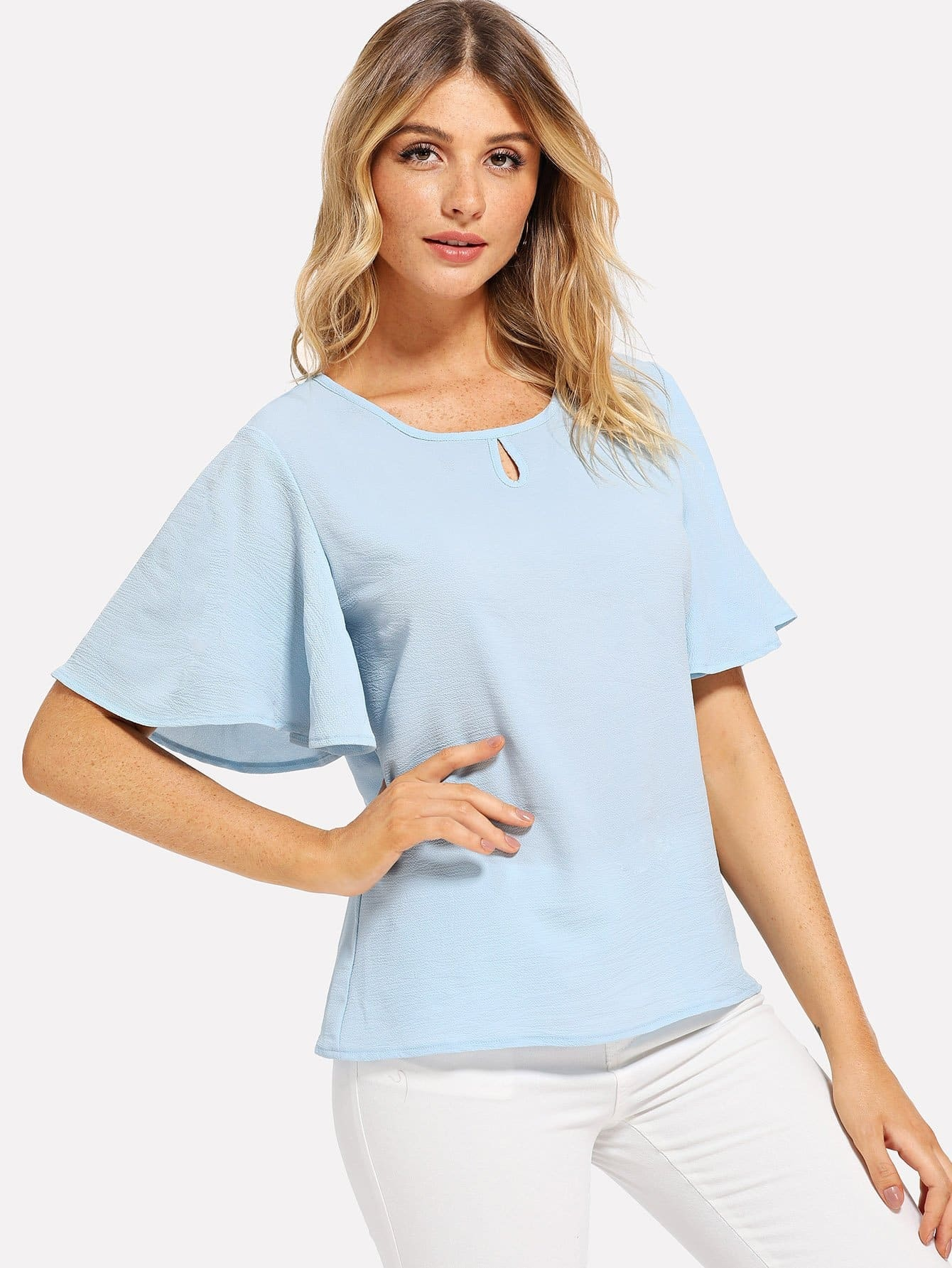 Cut Out Batwing Sleeve Blouse
