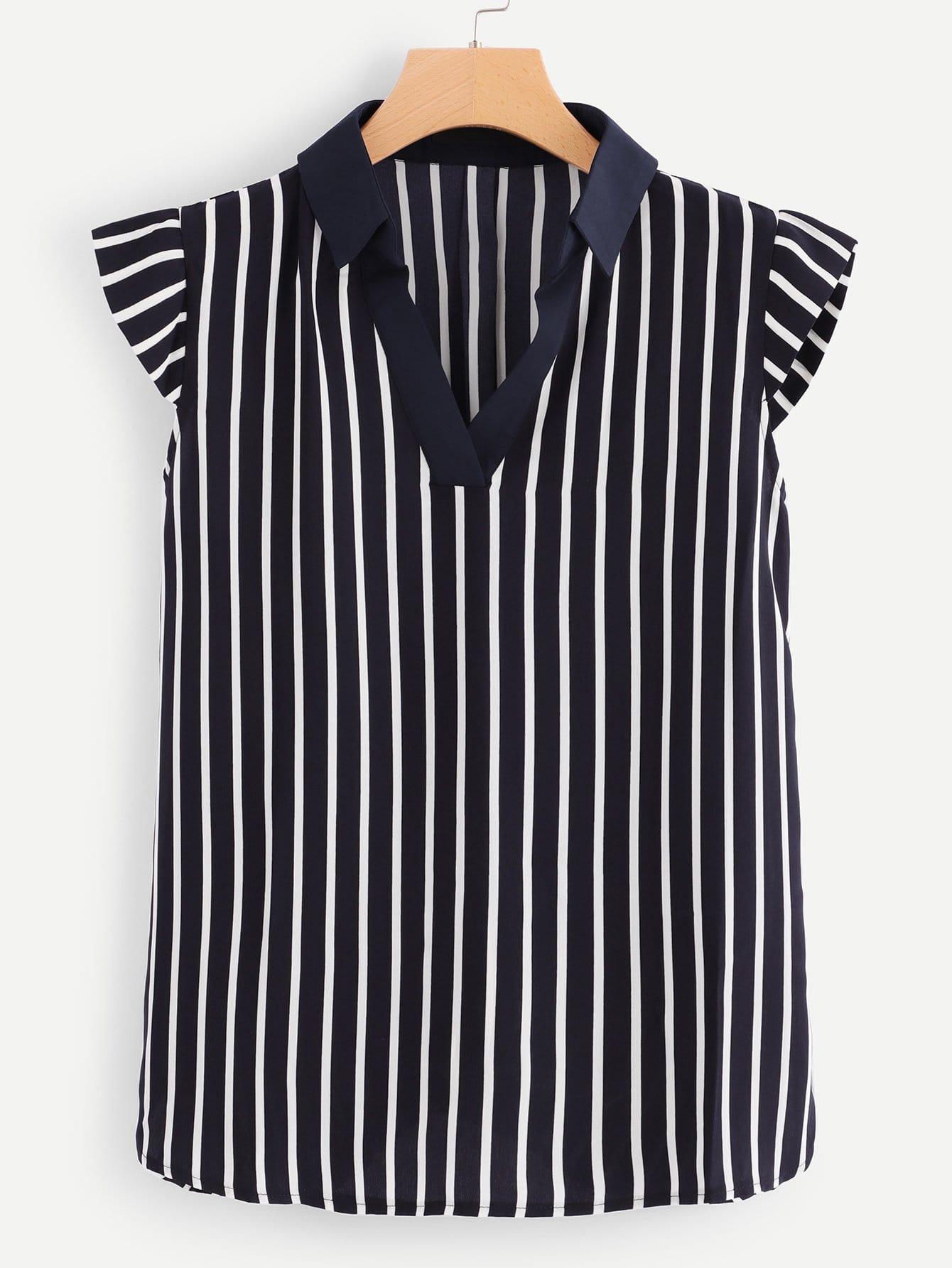 Купить Полосатая рубашка с v-образным вырезом, null, SheIn