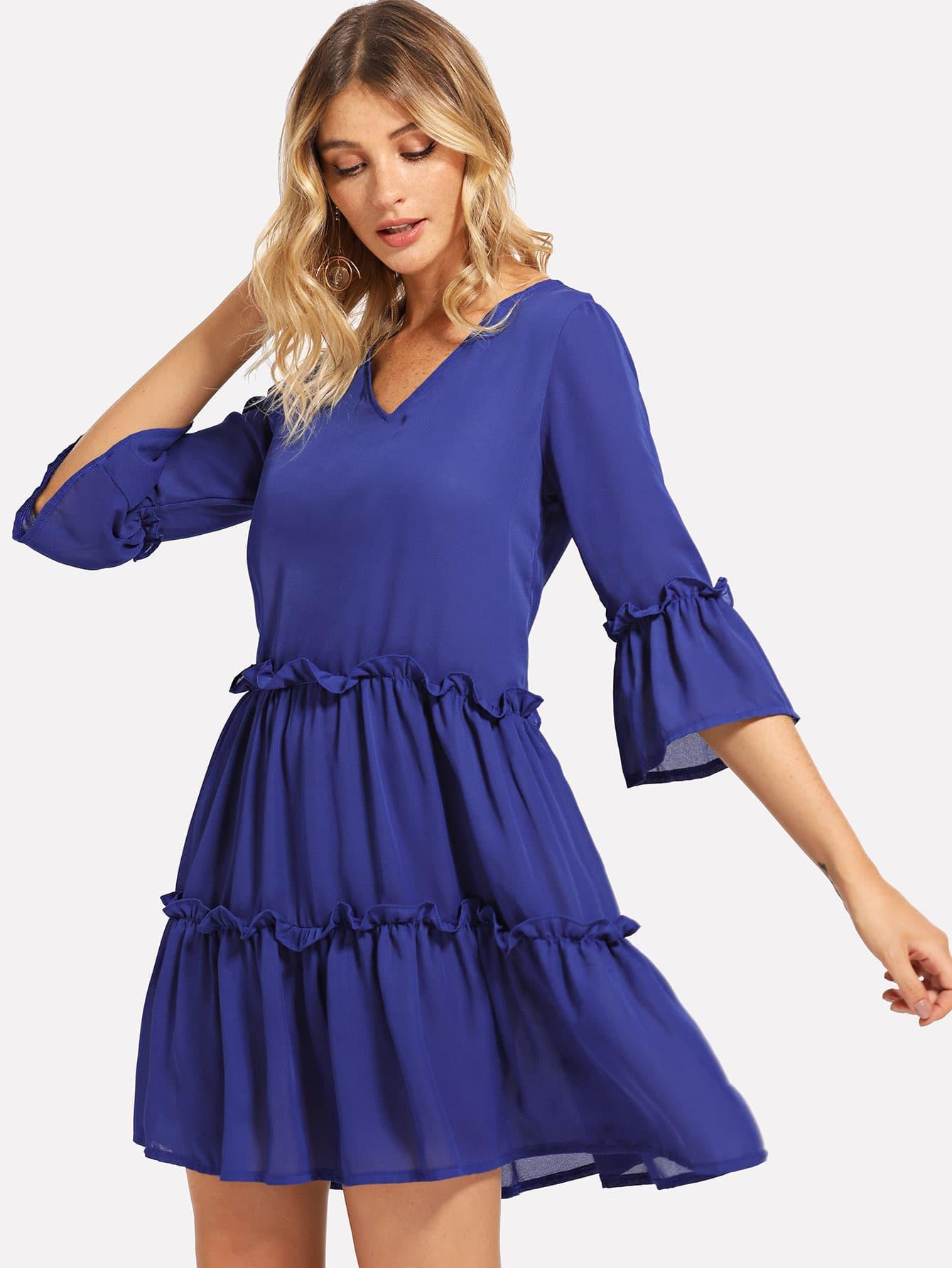Купить Платье с кружевными оборками и рукава с розеткой, Nathane, SheIn