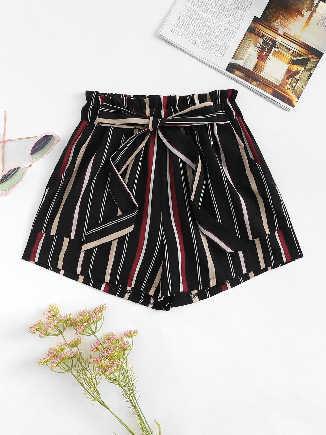 Купить Полосатые шорты с поясом и со складками, null, SheIn