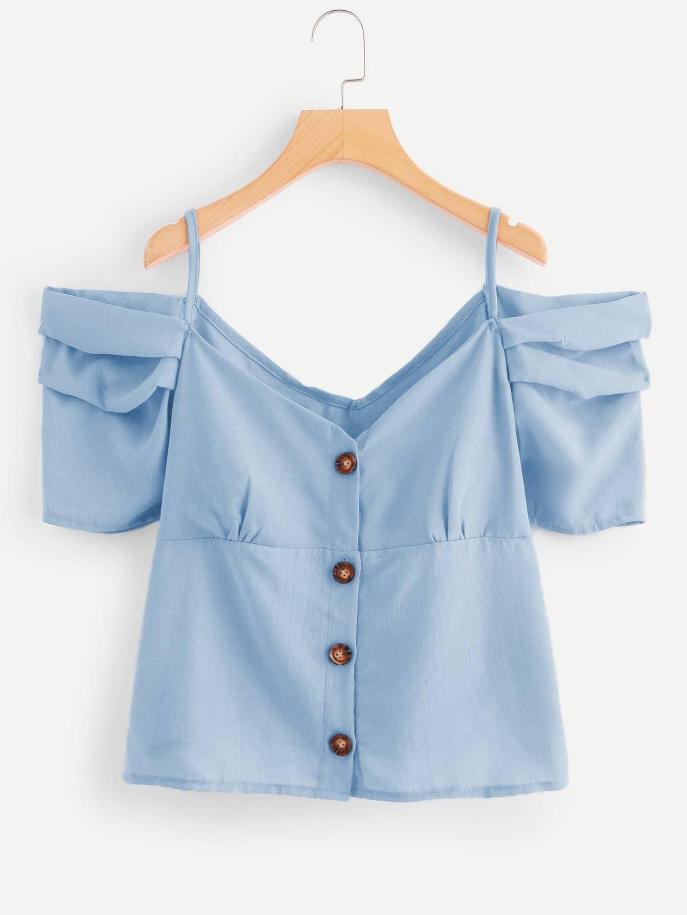 Купить Рубашка на бретелях с украшением пуговиц, null, SheIn