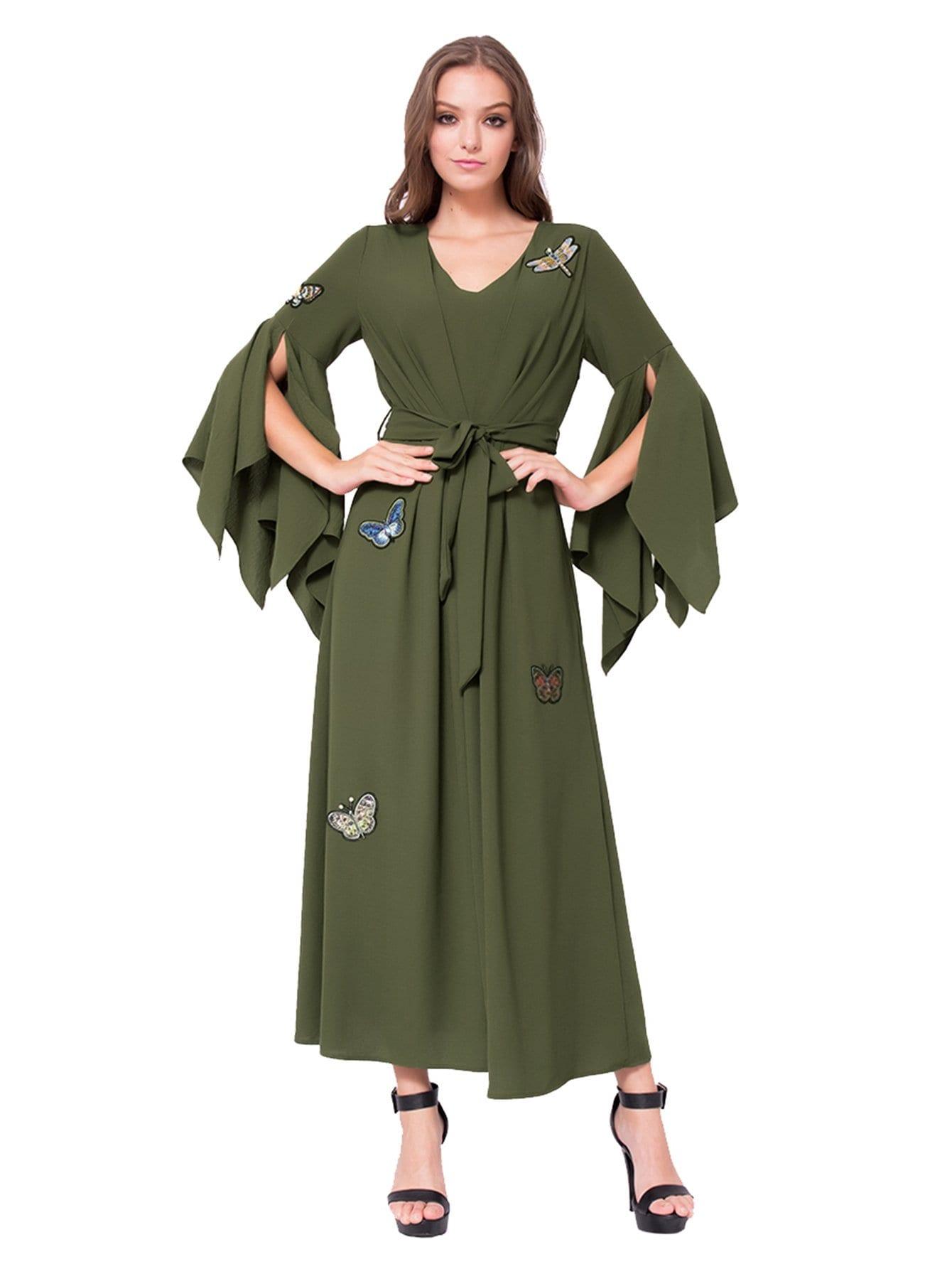 Платье с бабочкой с вышивкой из бабочки, null, SheIn  - купить со скидкой