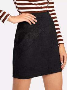 Zip Back Suede Skirt