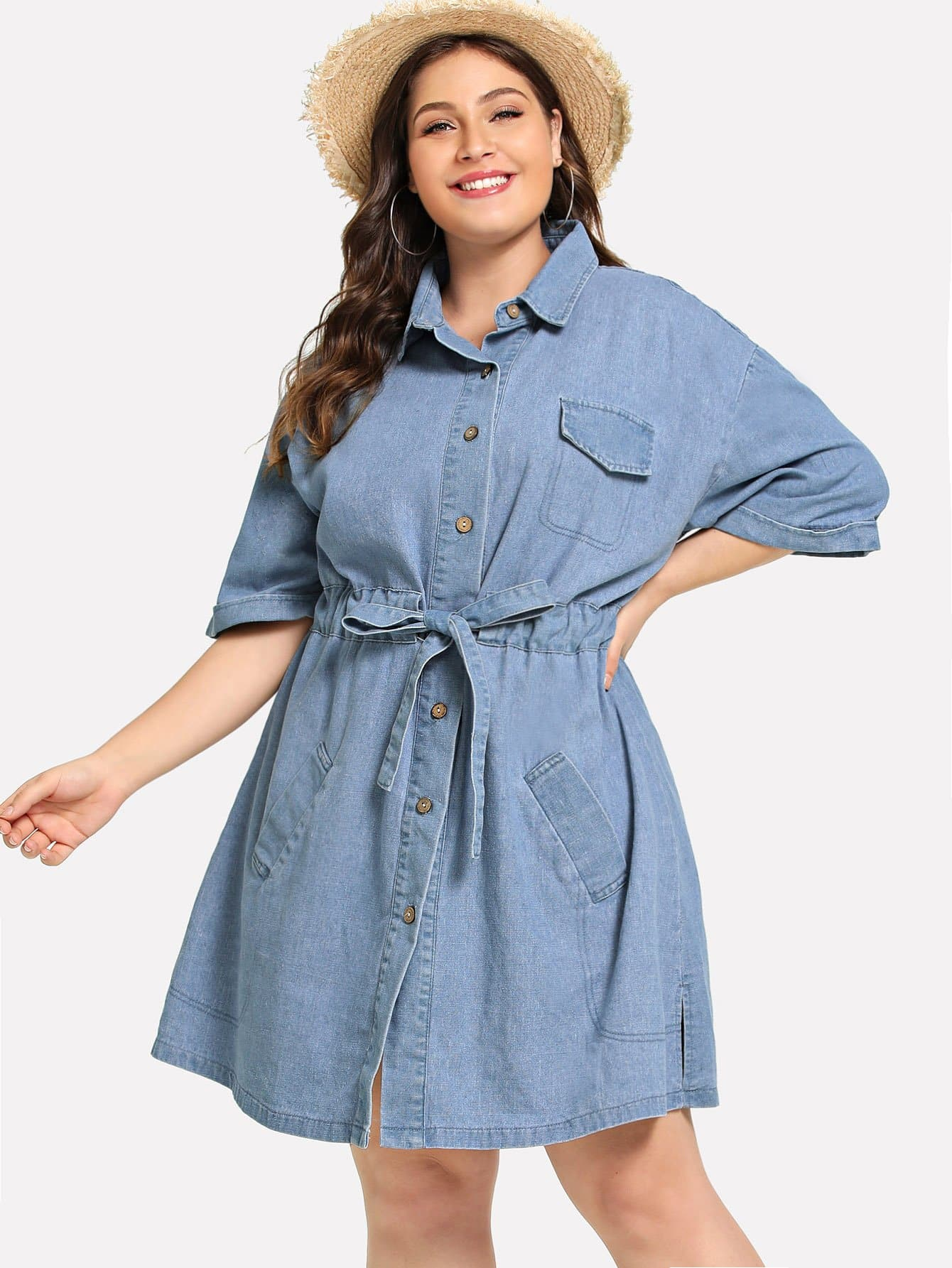 Plus Collar Drawstring Waist Denim Dress