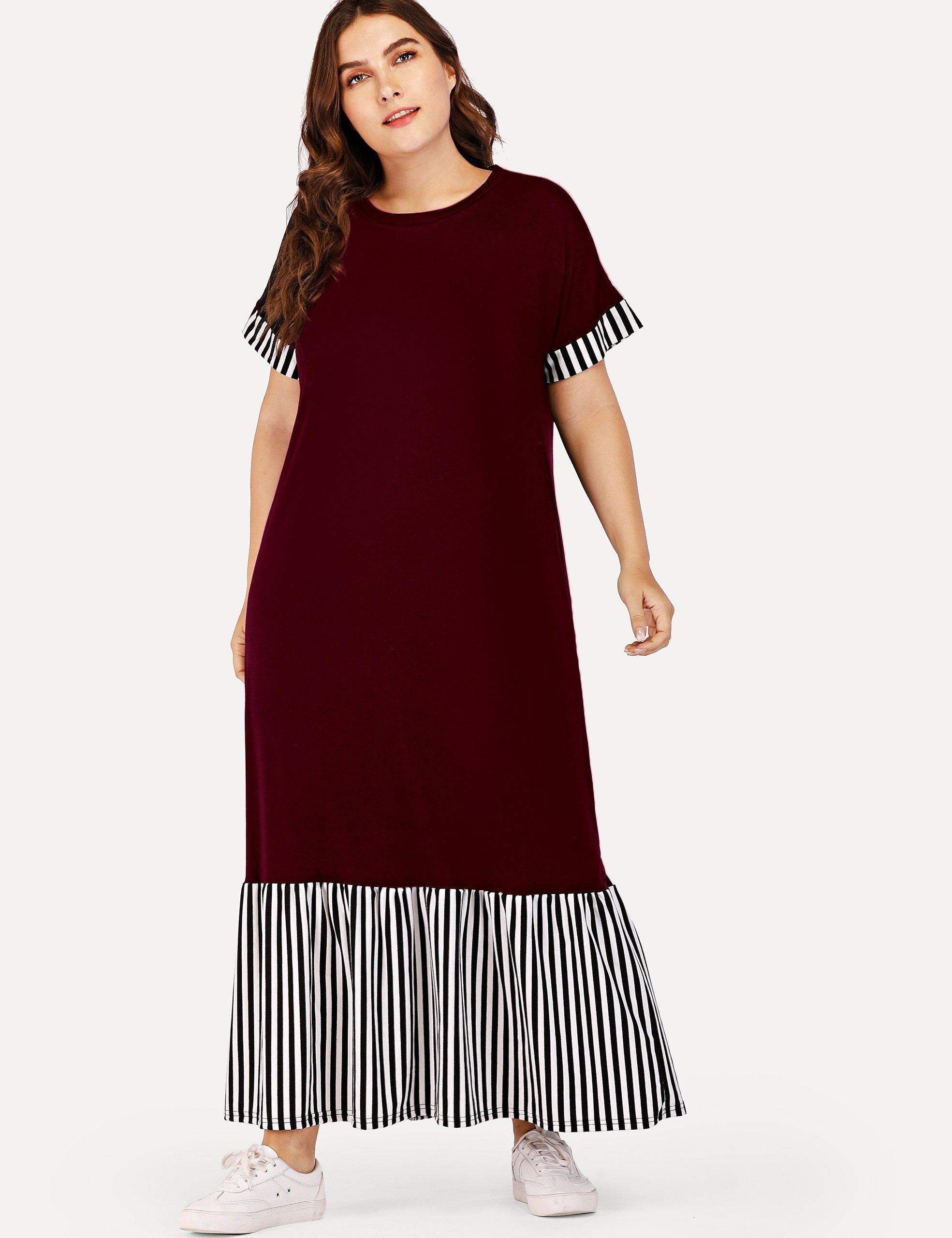 Купить Большое полосатое плоское платье и подол с розеткой, Franziska, SheIn